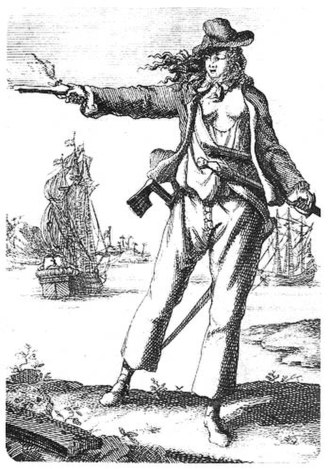 Women in piracy - Anne Bonny (1697-1720). Engraving from Captain Charles Johnsons General History of the Pyrates (1st Dutch Edition 1725)