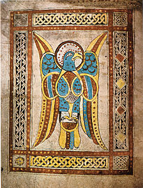 Page from the Book of Dimma with simple interlace borders, 8th century
