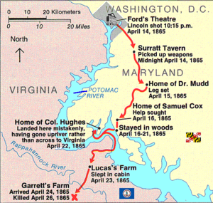 James W. Pumphrey - Booth's escape route.  Pumphrey's horse was killed by Herold while he and Booth were hiding in the woods prior to crossing the Potomac River into Virginia.