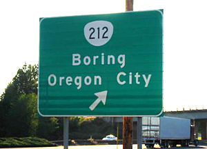 A large green sign that reads Boring Oregon City