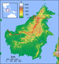 Bau, Sarawak is located in Borneo Topography