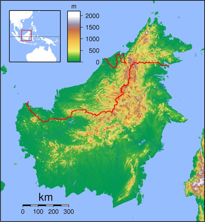 mapa de Borneo