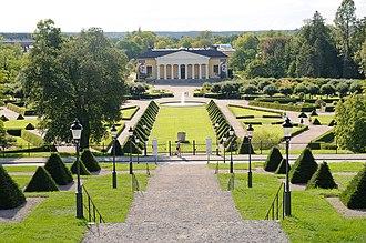 University of Uppsala Botanical Garden - Baroque garden section of Botaniska trädgården, as seen from Uppsala Castle. The building in the background is Linneanum, the garden's largest orangery.
