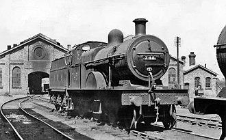 Midland Railway Class 3 4-4-0 - 745 at Bourneville (Birmingham) Locomotive Depot, July 1947