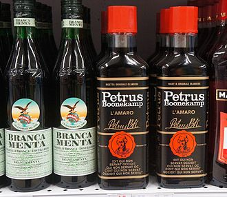 Amaro (liqueur) - bottles of Branca Menta and Petrus Boonekamp