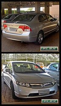 El Civic LXS Flex 2008 es vendido en Brasil con un motor de combustible flexible que puede operar con gasolina o etanol o cualquier mezcla de los dos.