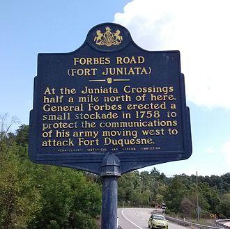 Forbes Road - Historical marker, U.S. 30, Breezewood, PA.