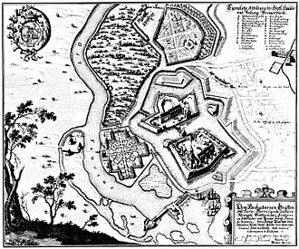 Bremervörde Castle - The castle in 1653 in a drawing by Merian. Above the castle island the surviving, L-shaped chancery may be made out in the centre of the outwork