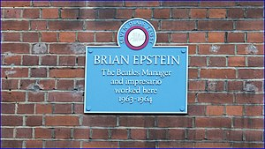 Brian Epstein worked here 1963-64 plaque by Seven Dials Trust, 13 Monmouth Street, London.jpg