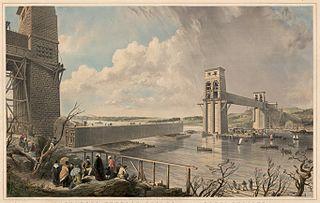 Britannia Tubular Bridge, over the Menai Straits, shewing the float