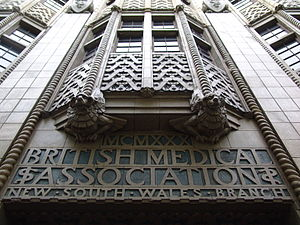 British Medical Association - The entrance of the British Medical Association (New South Wales Branch) building at 135-137 Macquarie Street Sydney, Australia