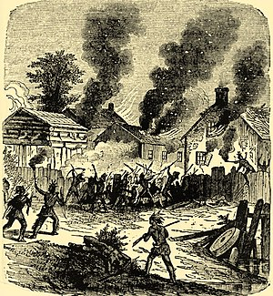Nipmuc - Depiction of the siege of Brookfield, Massachusetts during King Philip's War.