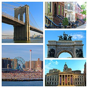 No sentido horário: Ponte de Brooklyn, Brownstones de Brooklyn, Arco dos soldados e marinheiros, Hall de Brooklyn e Coney Island.