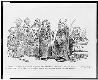 Henry Billings Brown - Political Cartoon Showing Justice Brown (standing, left-center) and the Court