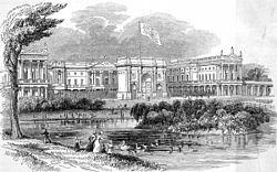 Buckingham Palace nel 1842, prima che l'edificio costruito da Edward Blore nel 1847 chiudesse completamente il quadrilatero.