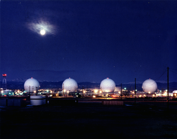 Radomes protecting satellite dishes and other space operations equipment at Buckley Air Force Base.