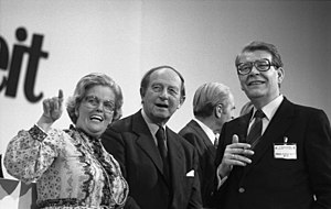 Rolf Hochhuth - Hans Filbinger (centre) had to resign in 1978 as Minister-President of Baden-Württemberg after it became public via Hochhuth's novel A Love in Germany that he was responsible for death sentences as a Navy judge at the end of World War II