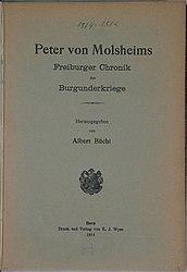 Freiburger Chronik der Burgunderkriege, hrsg. von Albert Büchi