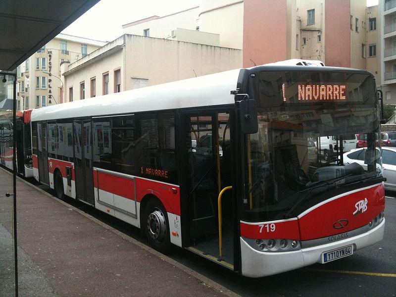 Solaris Urbino 12 bus (#719, reg. 1710 YN 64) in Biarritz, France. Built 2006, STAB Bayonne operator.