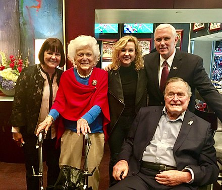 The Bushes with Vice President Mike Pence and family, wife Karen and daughter Charlotte, at Super Bowl LI in 2017 Bushes and Pences C38RSFoVYAAZCI2.jpg