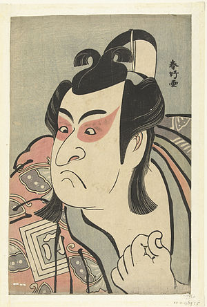 Sharaku - Ichikawa Monnosuke II as Soga no Gorō (1789) by Shunkō, a pioneer in ōkubi yakusha-e head portraits of actors