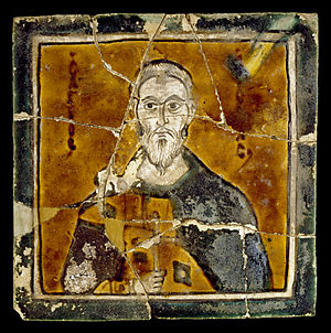 Icon - Ceramic icons are rare. Saint Arethas, Byzantine, 10th century.