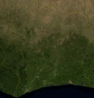 Outline of Ivory Coast - An enlargeable satellite image of Ivory Coast