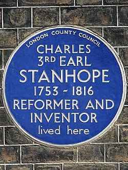 Charles 3rd earl stanhope 1753 1816 reformer and inventor lived here