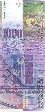 1000 Franken Rückseite
