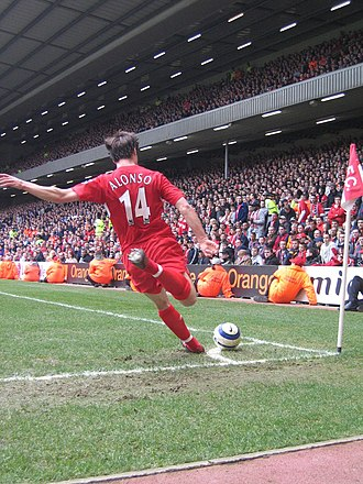 Xabi Alonso - Alonso taking a corner kick for Liverpool in March 2006.