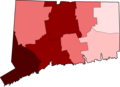 COVID-19 Cases in Connecticut by counties.png