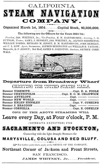 California Steam Navigation Company - 1863 advertisement