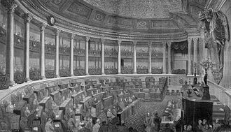 São Bento Palace - The Chamber of Most Worthy Peers, upper house of the former Cortes Gerais, in session in 1867.