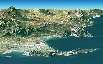 António de Saldanha - Cape Town: Table Bay (left), Cape Point peninsula (right) and False Bay (behind)