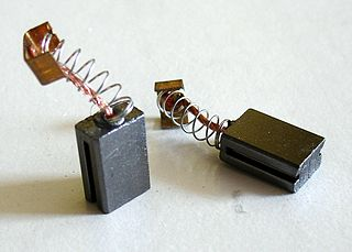 Brush (electric) conveys electrical energy between moving and non-moving surfaces in electrical motors
