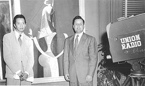 Wifredo Lam - Wifredo Lam with fellow artist Manuel Carbonell (1952)