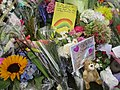 Cards and flowers at Christchurch mosque shooting memorial, Thursday 21 March 2019.jpg