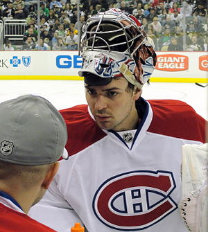 Carey Price - Price talks to backup Alex Auld in Pittsburgh, March 2011.