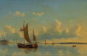 Carl Buntzen - Med udsigt over bugten Charlottenburg Palace og sejlskibe på stille vand på en sommerdag.jpg