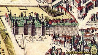 Royal Alcázar of Madrid - Detail of the plan of Frederic de Wit (1635), of the House Treasury. On the left, you can see that this building had direct communication with the Alcázar.