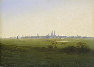 University of Greifswald - The renowned Romanticist painter Caspar David Friedrich immortalised the city in several of his paintings, e.g. Wiesen bei Greifswald (English: 'meadows near Greifswald'; 1820–1822, oil on canvas).