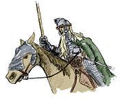 Representación de un caballero de Rohan.