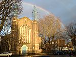 Celestial Church of Christ - photo taken from west side of Church with rainbow in 2013.JPG
