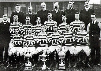 Scottish Cup - Celtic F.C. are the side with the most Scottish Cup victories. The trophy is pictured second from left, alongside the 1907–08 team