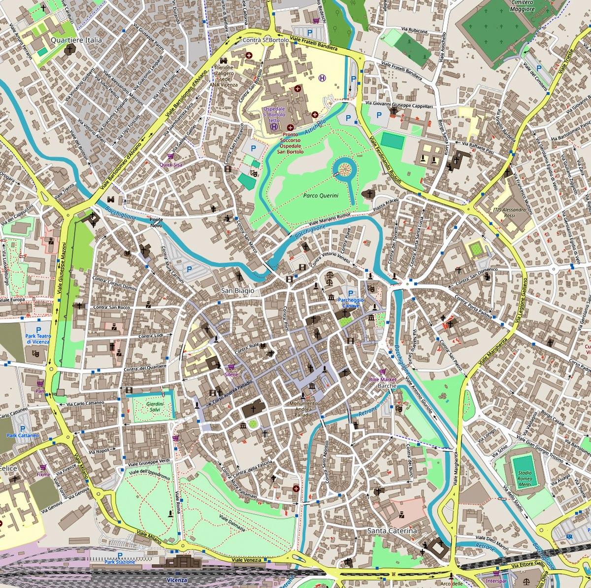 Cartina Di Venezia Con Vie.Centro Storico Di Vicenza Wikipedia
