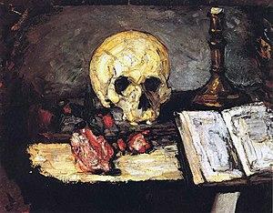 Pyramid of Skulls - Image: Cezanne Stilleben mit Totenkopf, Kerze und Buch