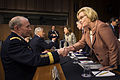Chairman of the Joint Chiefs of Staff Gen. Martin E. Dempsey greets Senator Claire McCaskill at the Senate Hart Office Building in Washington, D.C. April 17, 2013.jpg