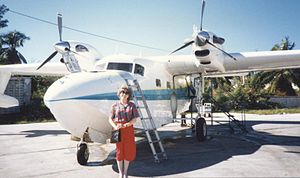 Chalk's International Airlines - Chalk's Turbo Mallard at Bimini seaplane base, Bahamas, in November 1989
