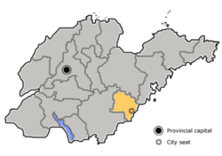 Location of Rizhao City jurisdiction in Shandong