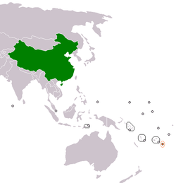 Map indicating locations of China and Tonga